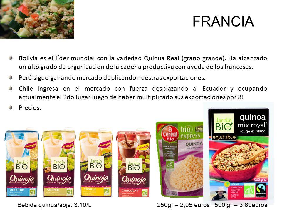 Bolivia es el líder mundial con la variedad Quinua Real (grano grande). Ha alcanzado un alto grado de organización de la cadena productiva con ayuda d