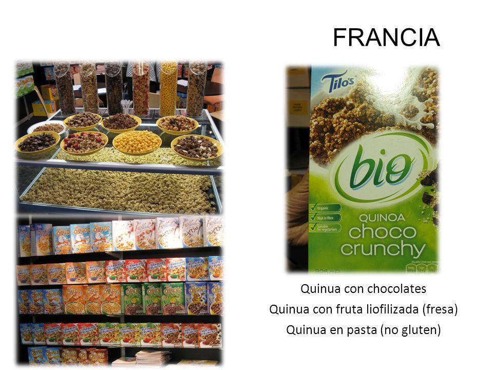 Quinua con chocolates Quinua con fruta liofilizada (fresa) Quinua en pasta (no gluten) SIAL 2010 FRANCIA