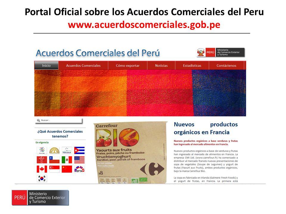 Portal Oficial sobre los Acuerdos Comerciales del Peru www.acuerdoscomerciales.gob.pe