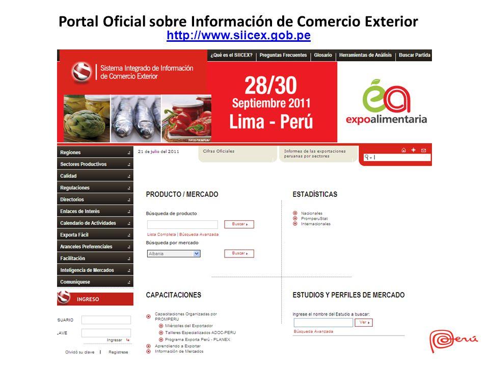 Portal Oficial sobre Información de Comercio Exterior http://www.siicex.gob.pe