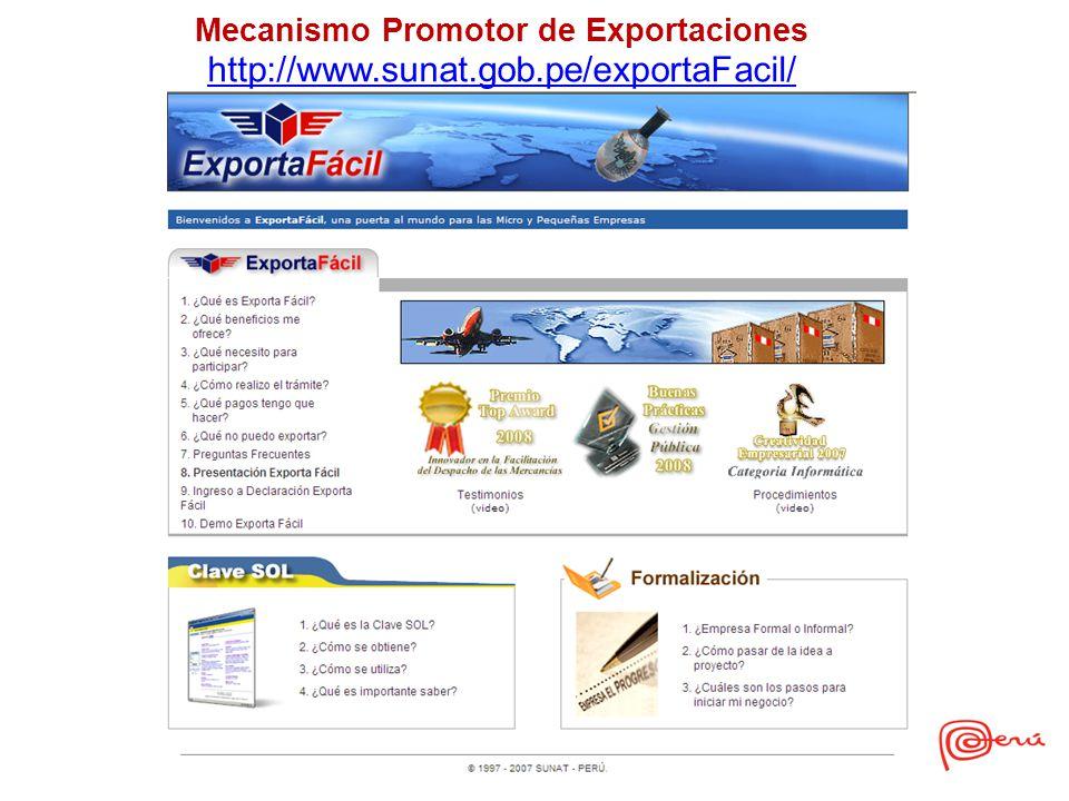 Mecanismo Promotor de Exportaciones http://www.sunat.gob.pe/exportaFacil/