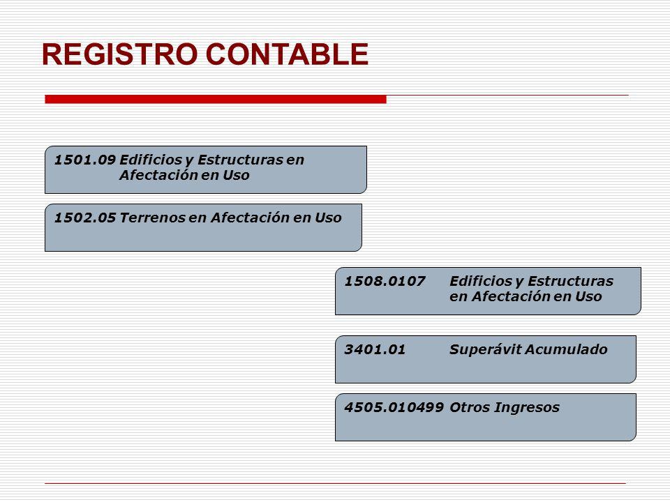 REGISTRO CONTABLE 1501.09 Edificios y Estructuras en Afectación en Uso 1508.0107Edificios y Estructuras en Afectación en Uso 1502.05 Terrenos en Afectación en Uso 3401.01Superávit Acumulado 4505.010499Otros Ingresos