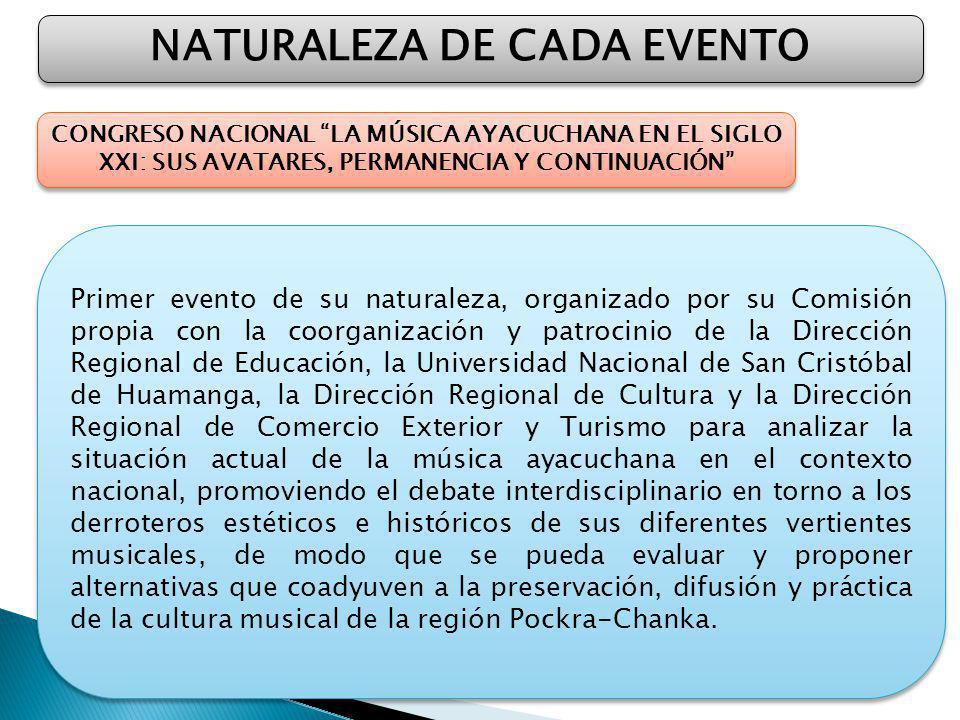 NATURALEZA DE CADA EVENTO CONGRESO NACIONAL LA MÚSICA AYACUCHANA EN EL SIGLO XXI: SUS AVATARES, PERMANENCIA Y CONTINUACIÓN Primer evento de su natural