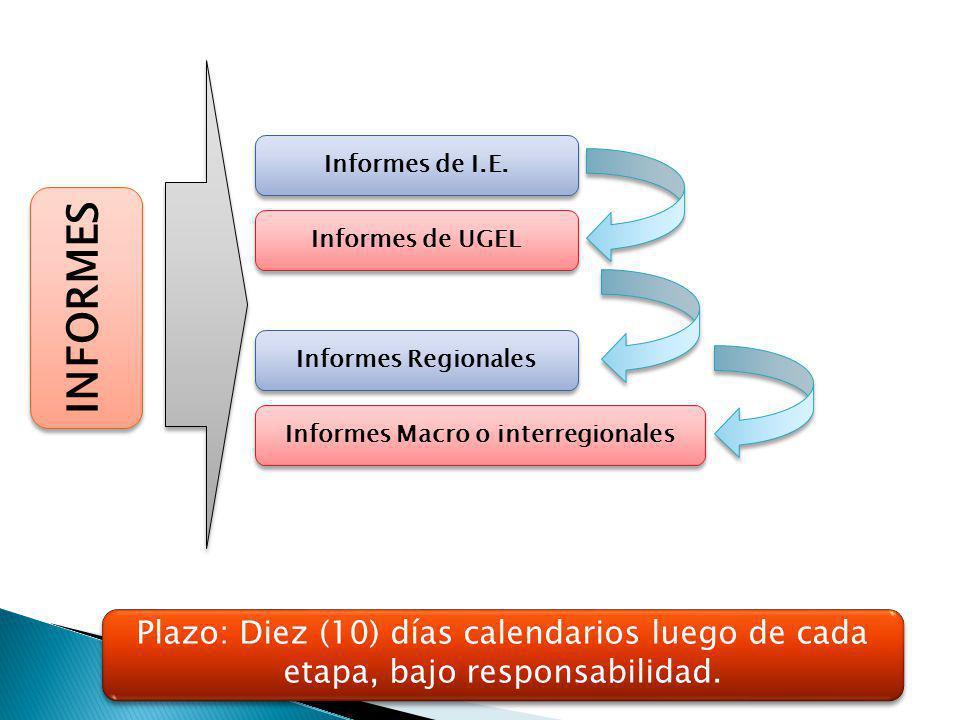 INFORMES Informes de I.E. Informes de UGEL Informes Regionales Informes Macro o interregionales Plazo: Diez (10) días calendarios luego de cada etapa,