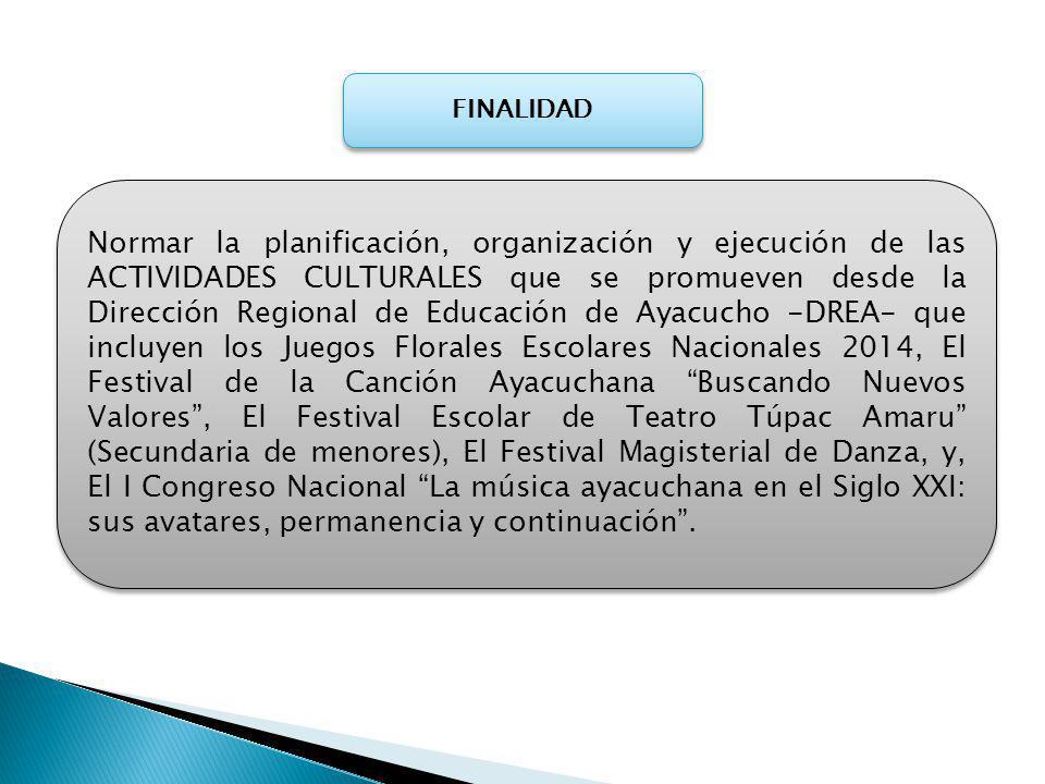 CRONOGRAMA EVENTO ETAPA FECHA DE REALIZACIÓNENTIDAD RESPONSABLE JUEGOS FLORALES ESCOLARES NACIONALES 2014 PINTURA A NIVEL DE INSTITUCIONES EDUCATIVAS 1RA SEMANA DE MAYODIRECTORES II.EE ARTESANÍA1RA SEMANA DE MAYODIRECTORES II.EE ESCULTURA1RA SEMANA DE MAYODIRECTORES II.EE FOTOGRAFÍA1RA SEMANA DE MAYODIRECTORES II.EE CUENTO1RA SEMANA DE MAYODIRECTORES II.EE POESÍA1RA SEMANA DE MAYODIRECTORES II.EE DANZA TRADICIONAL2DA SEMANA DE MAYODIRECTORES II.EE FESTIVAL DE LA CANCIÓN AYACUCHANA - BUSCANDO NUEVOS VALORES A NIVEL DE INSTITUCIONES EDUCATIVAS 3RA SEMANA DE MAYODIRECTORES II.EE