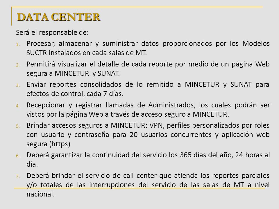 DATA CENTER ROUTER MINCETUR CALL CENTER ROUTER OPERADORES A NIVEL NACIONAL SERVICIO DE CALL CENTER