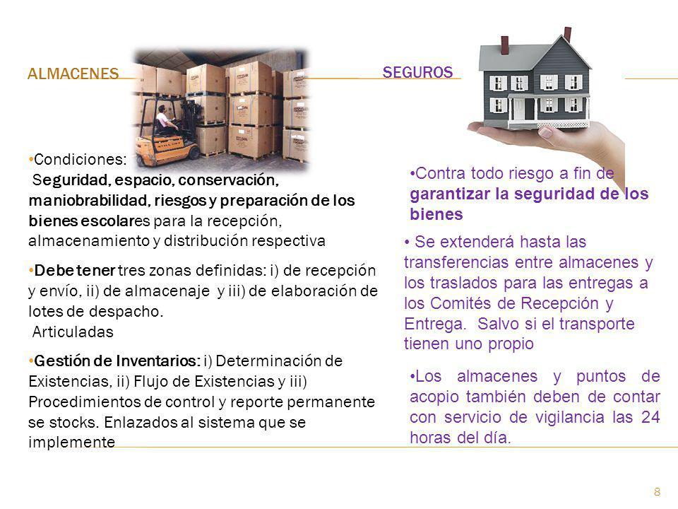 ALMACENES SEGUROS Condiciones: Seguridad, espacio, conservación, maniobrabilidad, riesgos y preparación de los bienes escolares para la recepción, alm