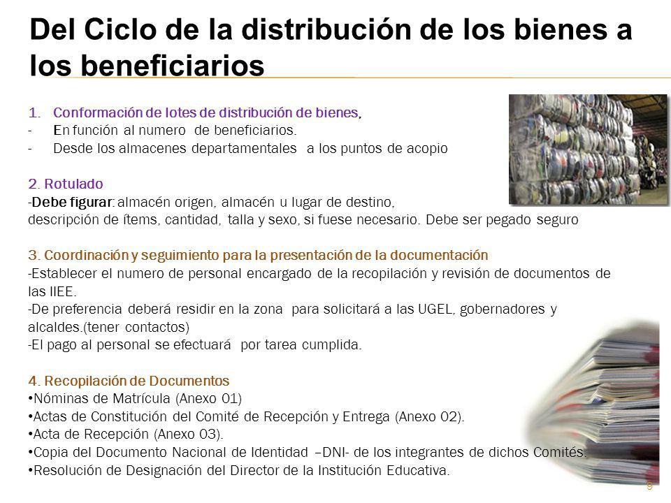 1.Conformación de lotes de distribución de bienes, -En función al numero de beneficiarios. -Desde los almacenes departamentales a los puntos de acopio