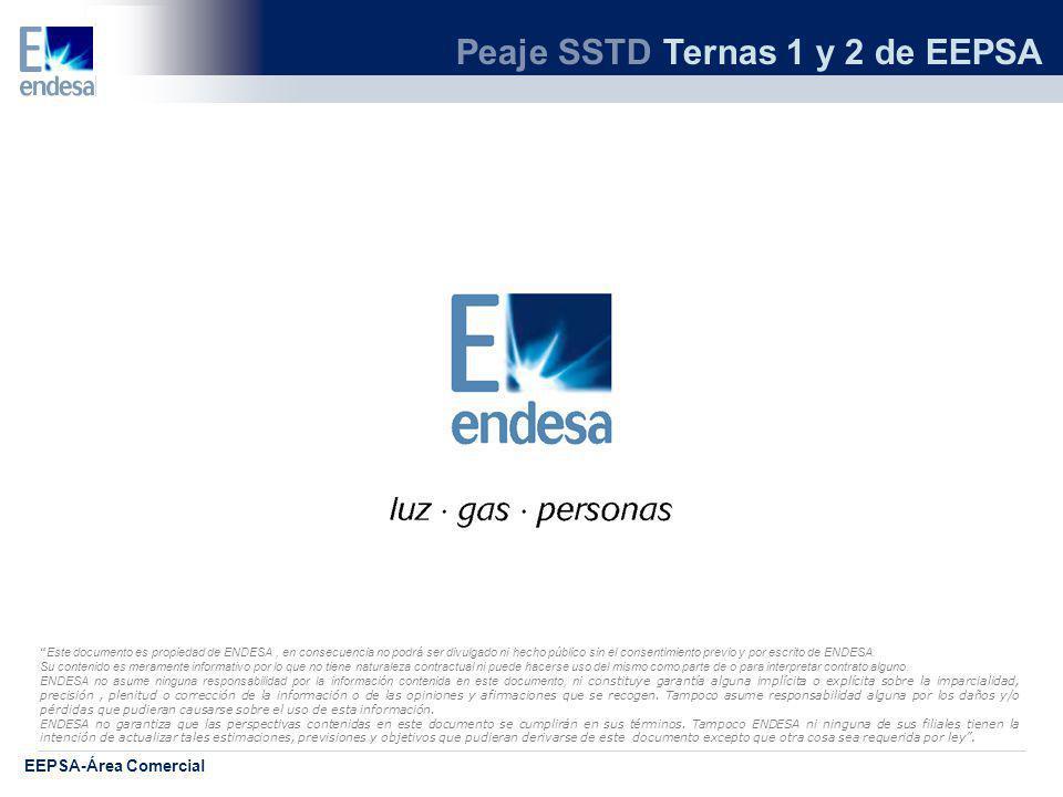 Peaje SSTD Ternas 1 y 2 de EEPSA EEPSA-Área Comercial Este documento es propiedad de ENDESA, en consecuencia no podrá ser divulgado ni hecho público sin el consentimiento previo y por escrito de ENDESA.