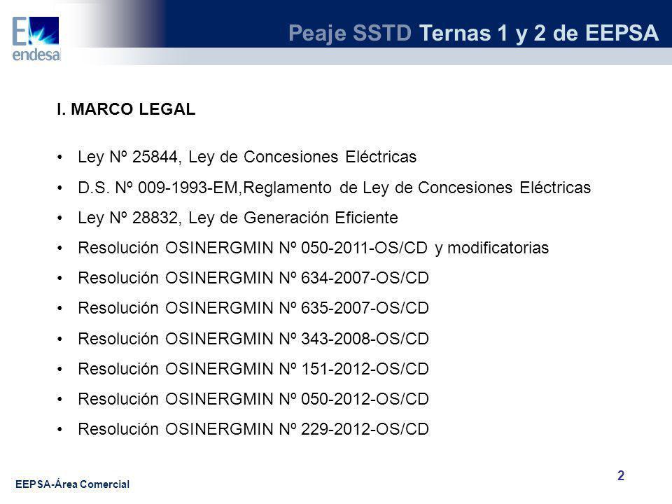 Peaje SSTD Ternas 1 y 2 de EEPSA EEPSA-Área Comercial 2 I.