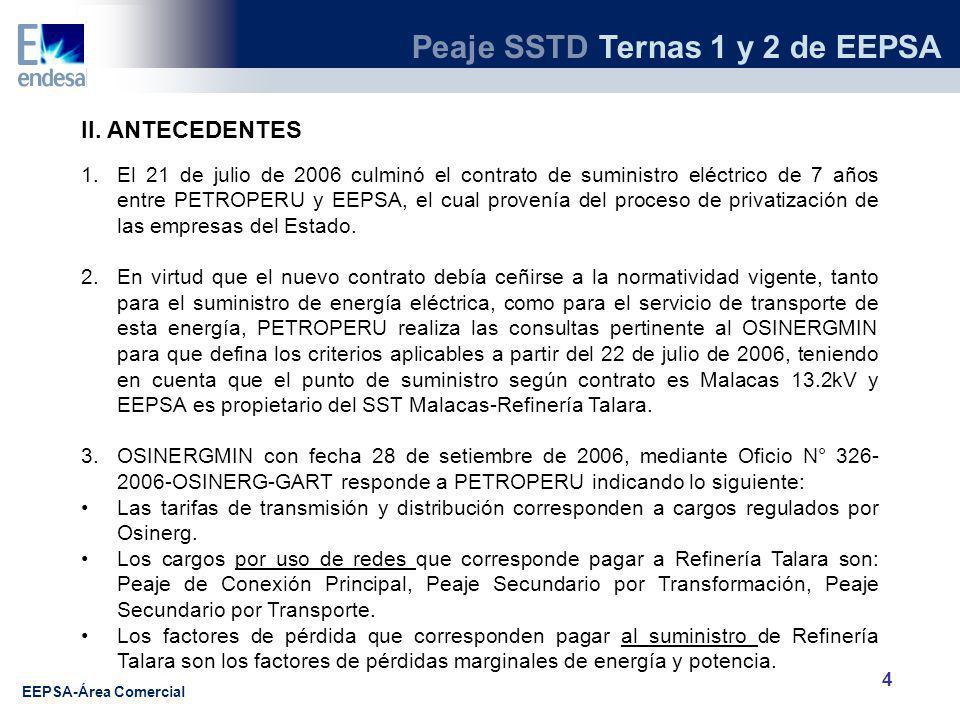Peaje SSTD Ternas 1 y 2 de EEPSA EEPSA-Área Comercial 5 II.