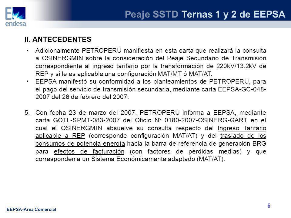 Peaje SSTD Ternas 1 y 2 de EEPSA EEPSA-Área Comercial 6 II.