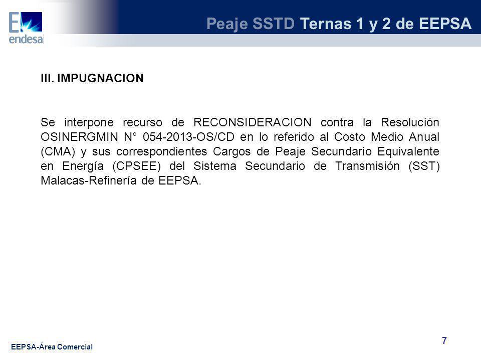 Peaje SSTD Ternas 1 y 2 de EEPSA EEPSA-Área Comercial 7 III.