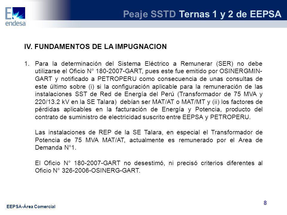 Peaje SSTD Ternas 1 y 2 de EEPSA EEPSA-Área Comercial 9 IV.