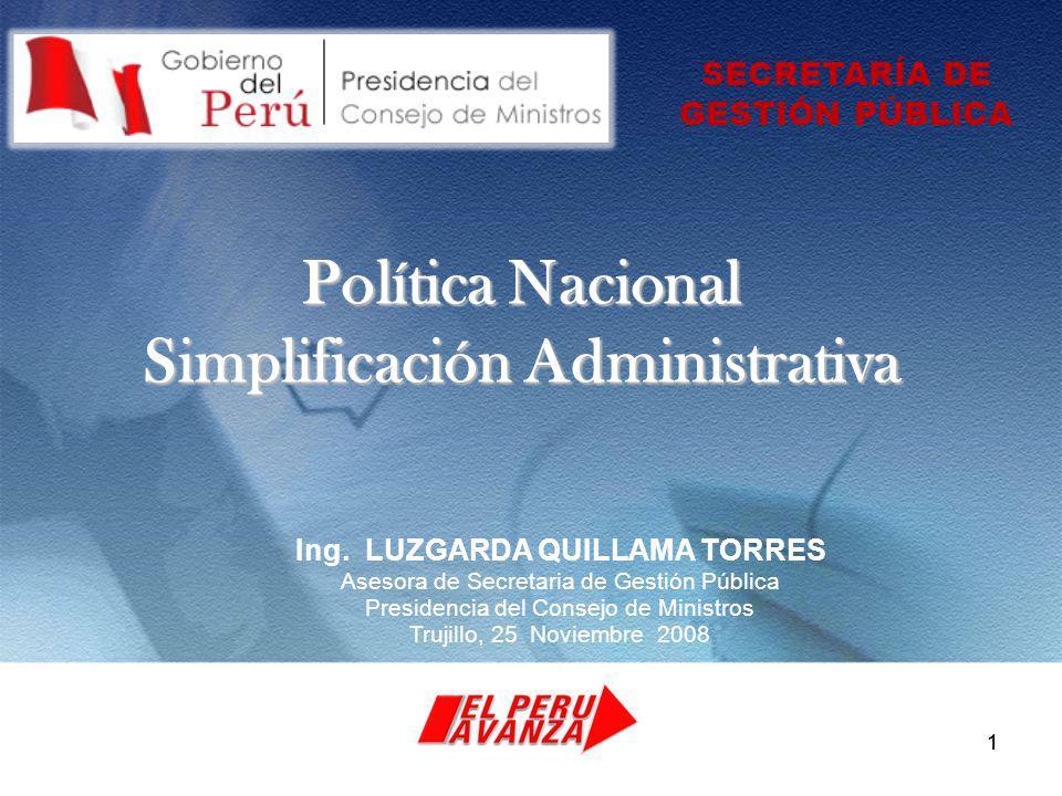 11 Política Nacional Simplificación Administrativa Ing.