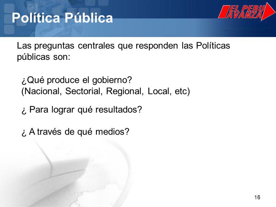 16 Política Pública Las preguntas centrales que responden las Políticas públicas son: ¿Qué produce el gobierno.