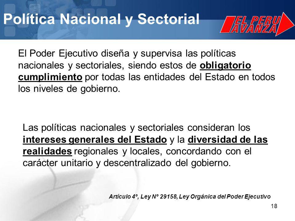 18 El Poder Ejecutivo diseña y supervisa las políticas nacionales y sectoriales, siendo estos de obligatorio cumplimiento por todas las entidades del Estado en todos los niveles de gobierno.