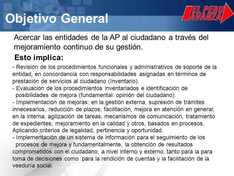 Objetivo General Acercar las entidades de la AP al ciudadano a través del mejoramiento continuo de su gestión.