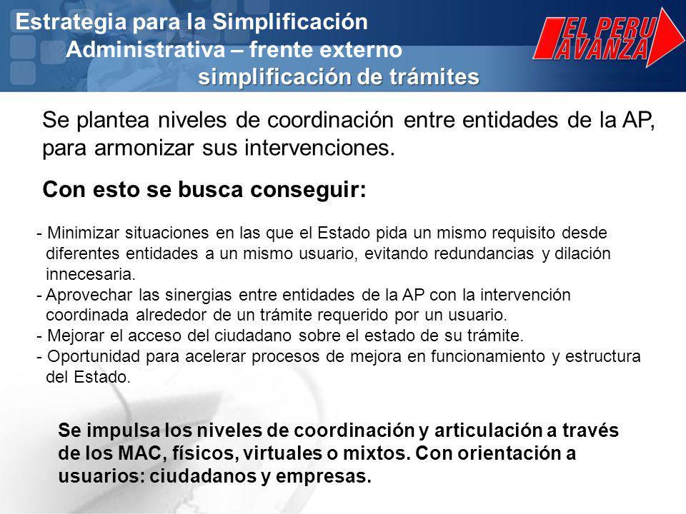 simplificación de trámites Estrategia para la Simplificación Administrativa – frente externo simplificación de trámites Se plantea niveles de coordinación entre entidades de la AP, para armonizar sus intervenciones.