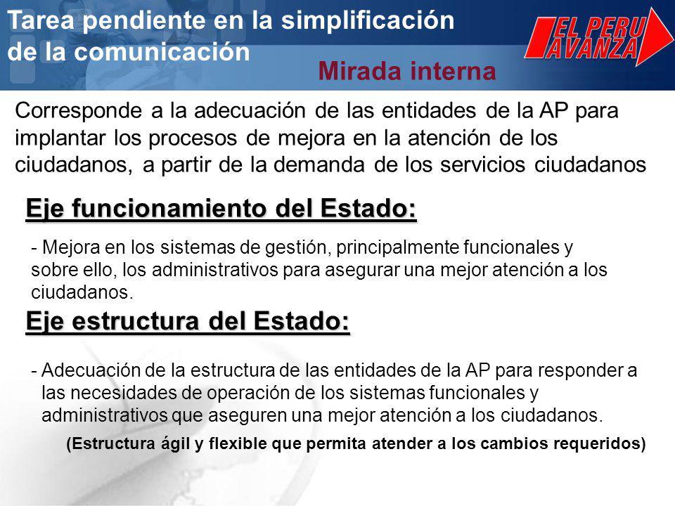 Eje estructura del Estado: - Mejora en los sistemas de gestión, principalmente funcionales y sobre ello, los administrativos para asegurar una mejor atención a los ciudadanos.