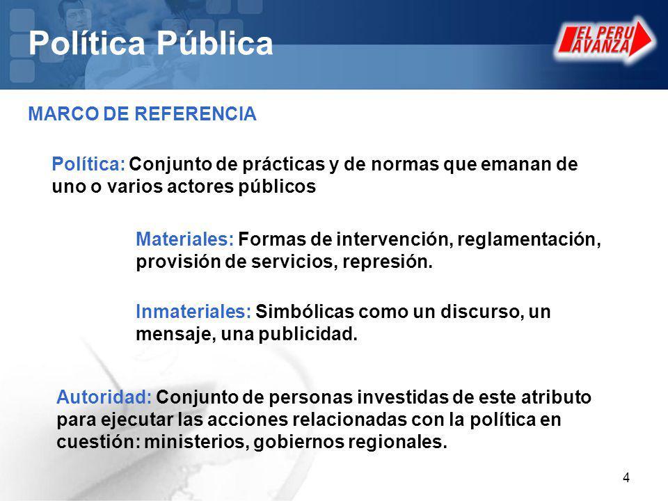 4 Política Pública MARCO DE REFERENCIA Política: Conjunto de prácticas y de normas que emanan de uno o varios actores públicos Materiales: Formas de intervención, reglamentación, provisión de servicios, represión.