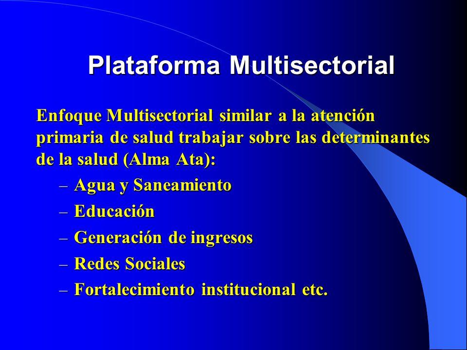 Plataforma Multisectorial Enfoque Multisectorial similar a la atención primaria de salud trabajar sobre las determinantes de la salud (Alma Ata): – Agua y Saneamiento – Educación – Generación de ingresos – Redes Sociales – Fortalecimiento institucional etc.