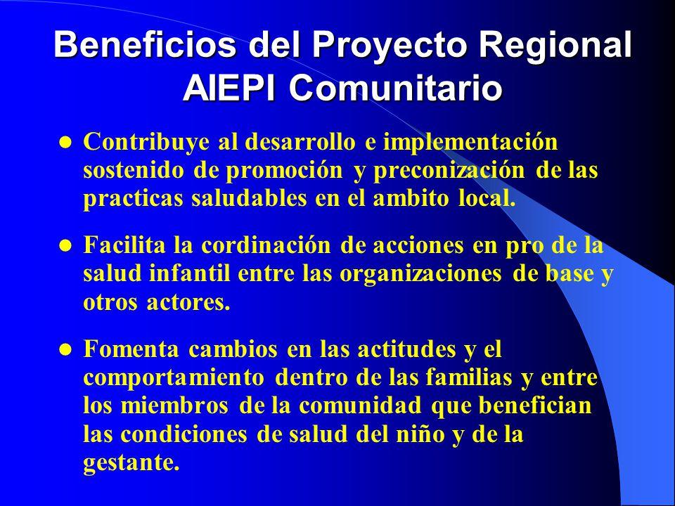 Beneficios del Proyecto Regional AIEPI Comunitario Contribuye al desarrollo e implementación sostenido de promoción y preconización de las practicas saludables en el ambito local.