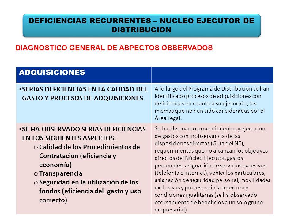 DIAGNOSTICO GENERAL DE ASPECTOS OBSERVADOS ADQUISICIONES SERIAS DEFICIENCIAS EN LA CALIDAD DEL GASTO Y PROCESOS DE ADQUISICIONES A lo largo del Progra