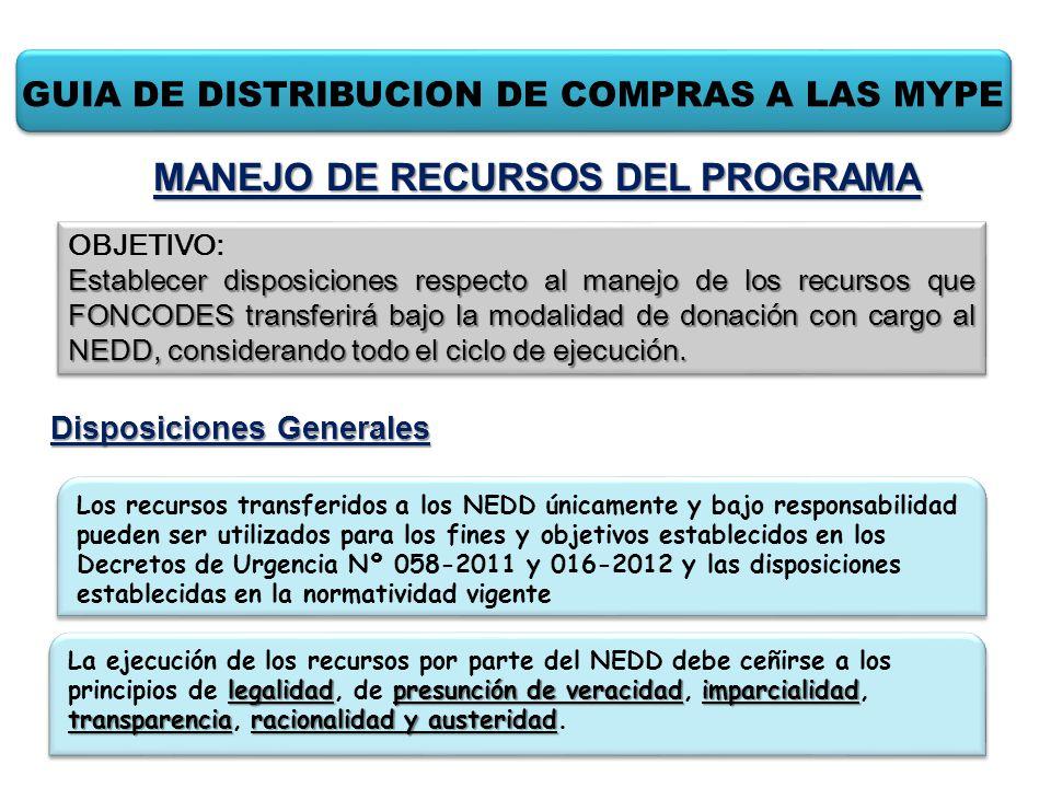 GUIA DE DISTRIBUCION DE COMPRAS A LAS MYPE Disposiciones Generales OBJETIVO: Establecer disposiciones respecto al manejo de los recursos que FONCODES