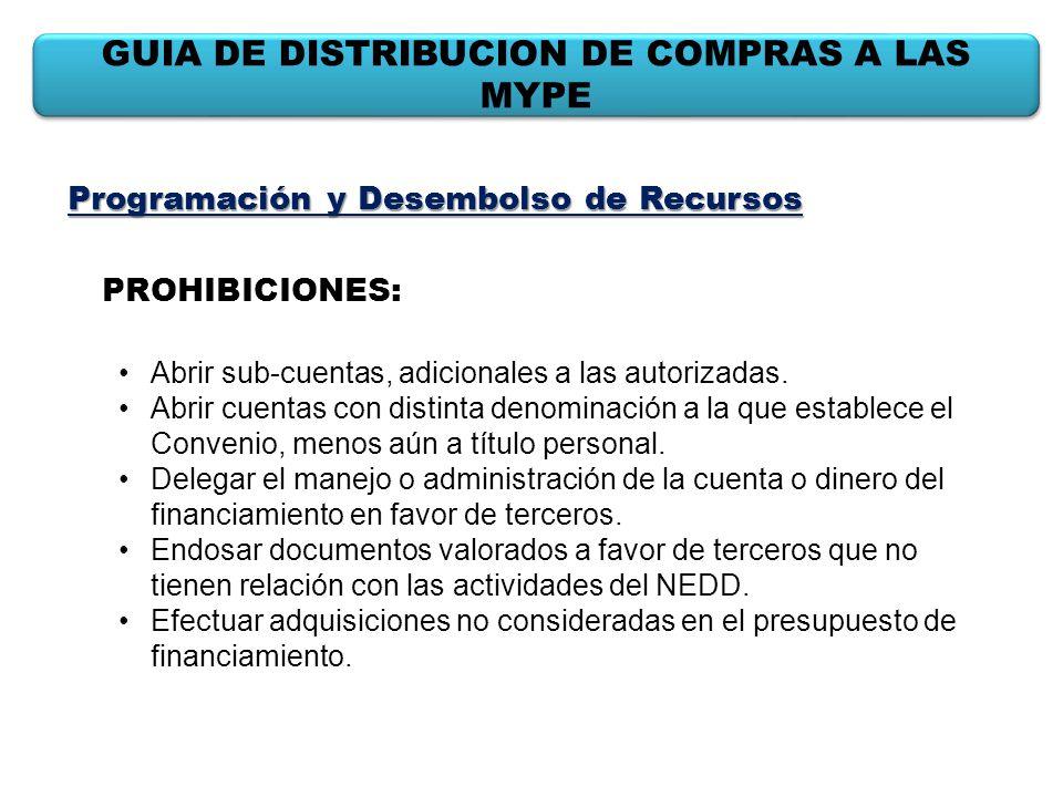 GUIA DE DISTRIBUCION DE COMPRAS A LAS MYPE Programación y Desembolso de Recursos PROHIBICIONES: Abrir sub-cuentas, adicionales a las autorizadas. Abri