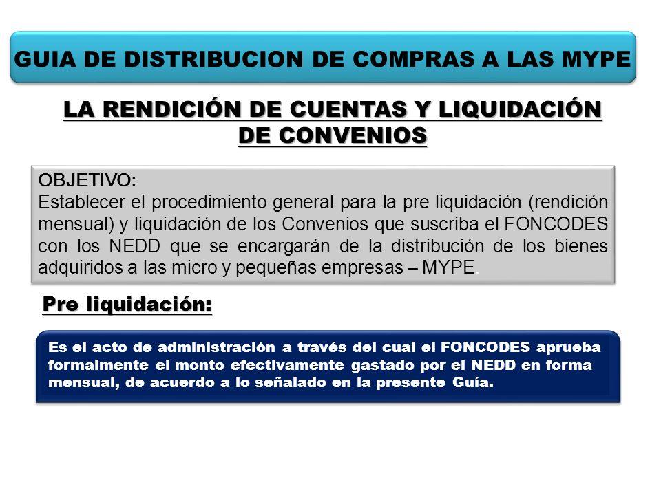 GUIA DE DISTRIBUCION DE COMPRAS A LAS MYPE Pre liquidación: OBJETIVO: Establecer el procedimiento general para la pre liquidación (rendición mensual)