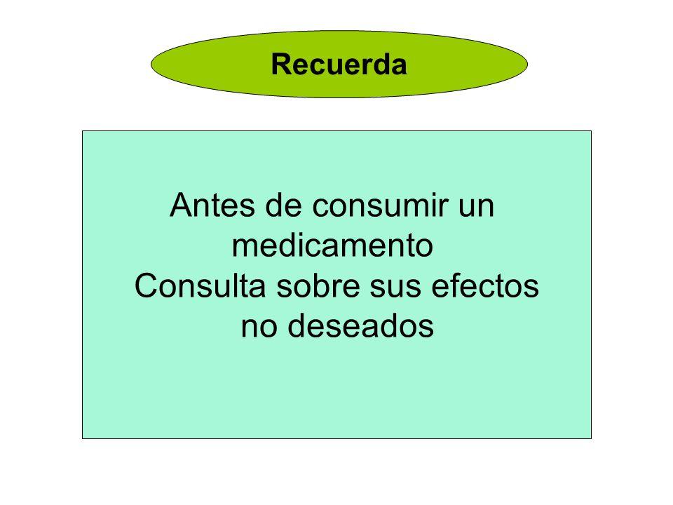 Recuerda Antes de consumir un medicamento Consulta sobre sus efectos no deseados
