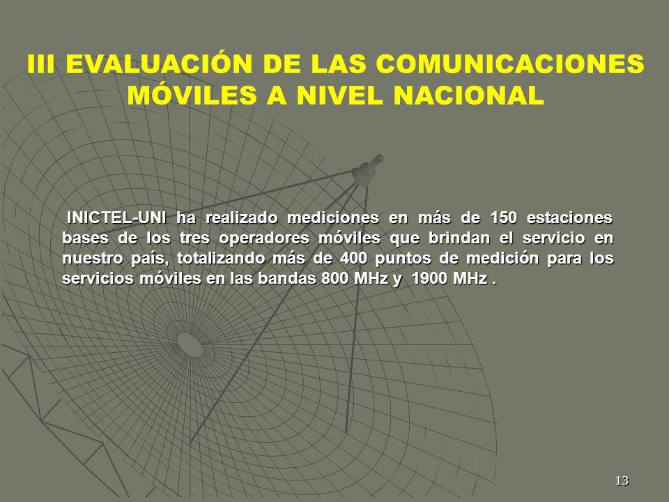 13 III EVALUACIÓN DE LAS COMUNICACIONES MÓVILES A NIVEL NACIONAL INICTEL-UNI ha realizado mediciones en más de 150 estaciones bases de los tres operad