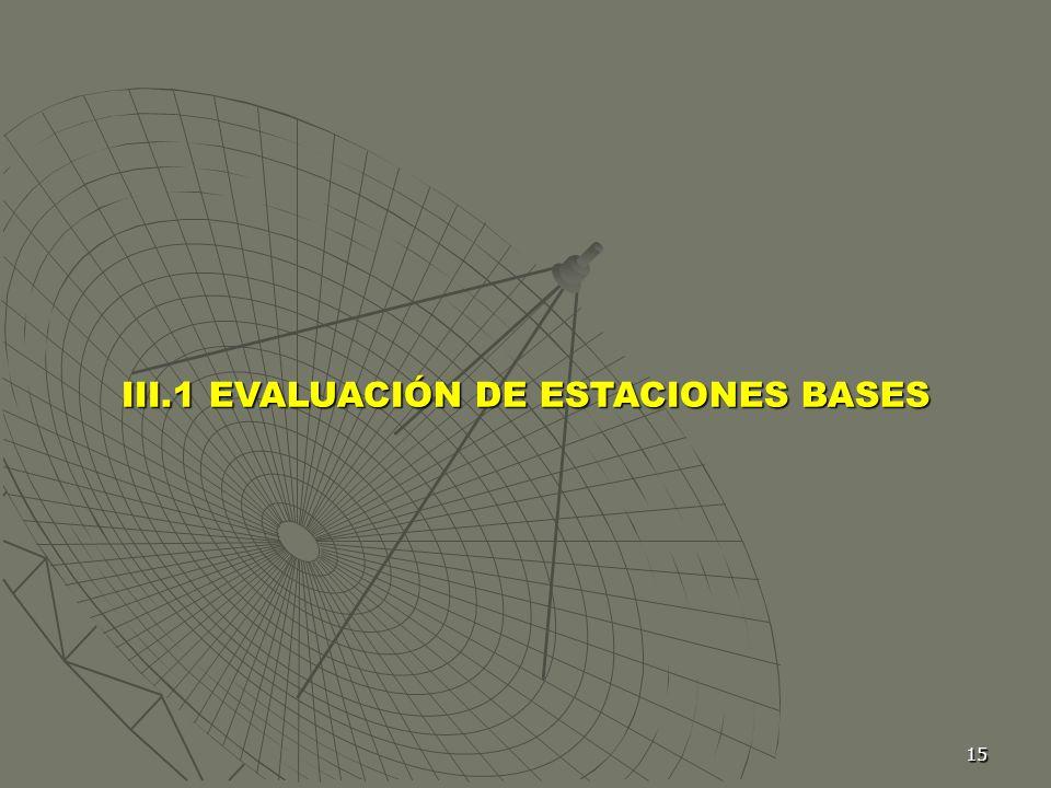15 III.1 EVALUACIÓN DE ESTACIONES BASES