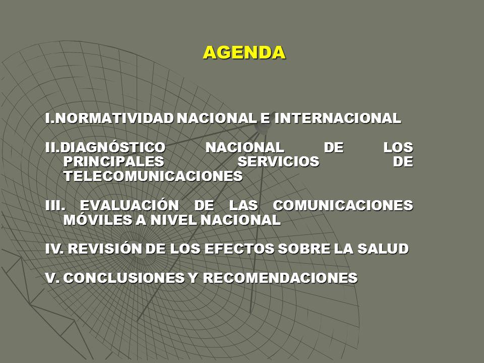 AGENDA I.NORMATIVIDAD NACIONAL E INTERNACIONAL II.DIAGNÓSTICO NACIONAL DE LOS PRINCIPALES SERVICIOS DE TELECOMUNICACIONES III. EVALUACIÓN DE LAS COMUN