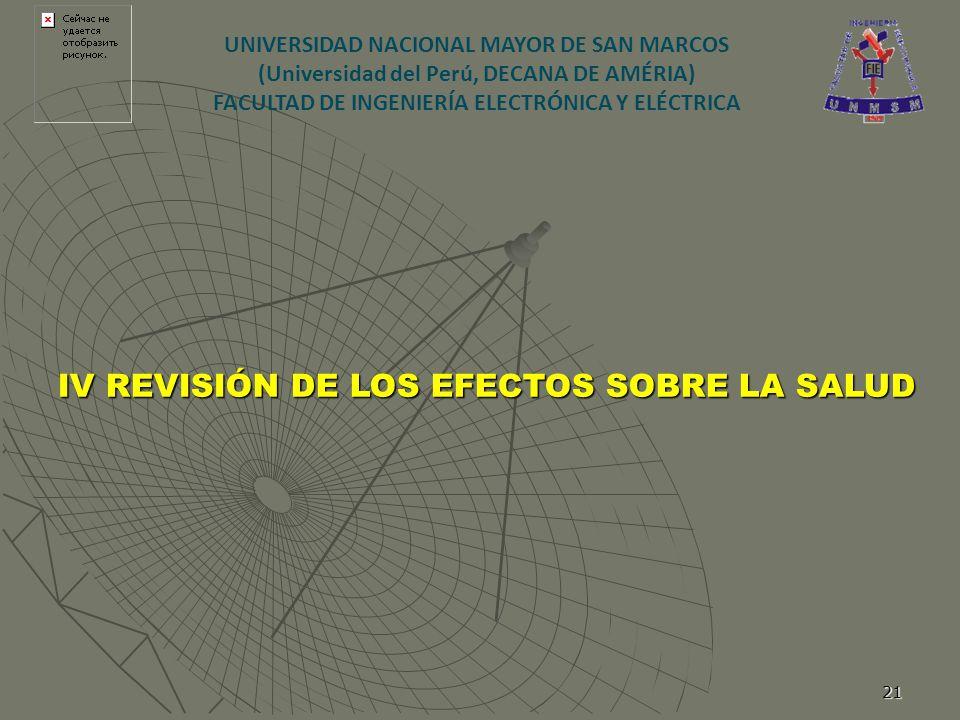 21 IV REVISIÓN DE LOS EFECTOS SOBRE LA SALUD UNIVERSIDAD NACIONAL MAYOR DE SAN MARCOS (Universidad del Perú, DECANA DE AMÉRIA) FACULTAD DE INGENIERÍA