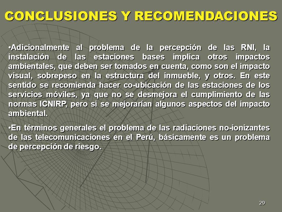 29 Adicionalmente al problema de la percepción de las RNI, la instalación de las estaciones bases implica otros impactos ambientales, que deben ser to