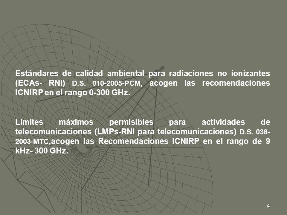 4 Estándares de calidad ambiental para radiaciones no ionizantes (ECAs- RNI) D.S. 010-2005-PCM, acogen las recomendaciones ICNIRP en el rango 0-300 GH
