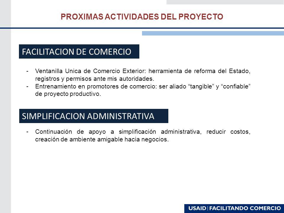 PROXIMAS ACTIVIDADES DEL PROYECTO -Ventanilla Unica de Comercio Exterior: herramienta de reforma del Estado, registros y permisos ante mis autoridades.