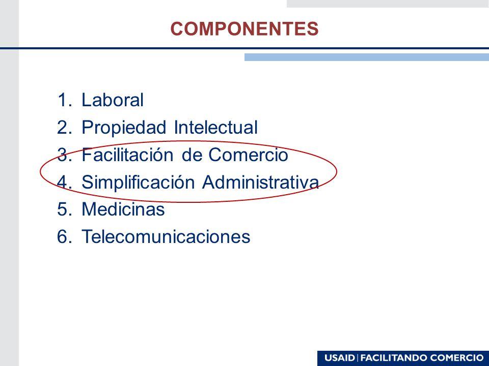 COMPONENTES 1.Laboral 2.Propiedad Intelectual 3.Facilitación de Comercio 4.Simplificación Administrativa 5.Medicinas 6.Telecomunicaciones