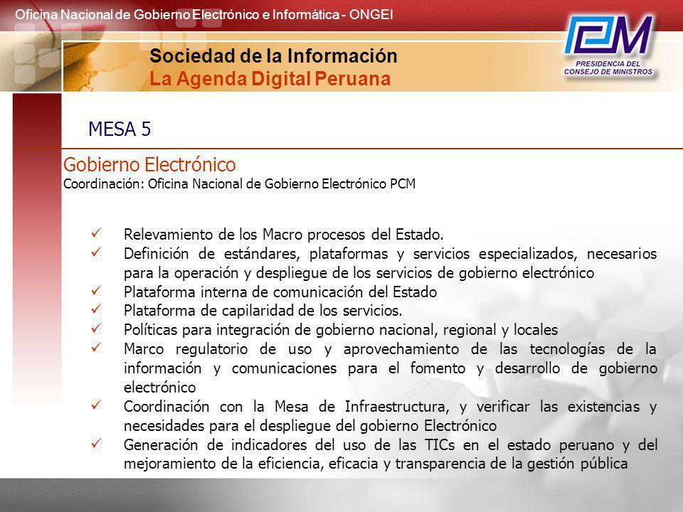 Gobierno Electrónico Coordinación: Oficina Nacional de Gobierno Electrónico PCM Relevamiento de los Macro procesos del Estado. Definición de estándare