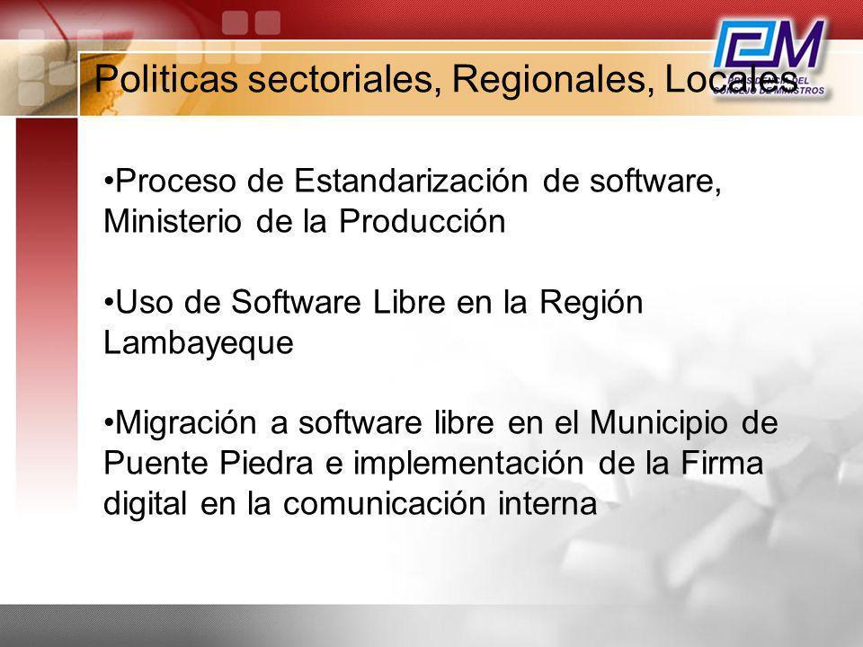 Politicas sectoriales, Regionales, Locales Proceso de Estandarización de software, Ministerio de la Producción Uso de Software Libre en la Región Lamb