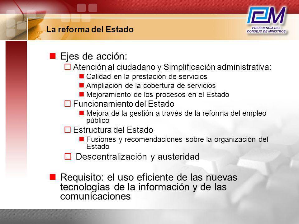 La reforma del Estado Ejes de acción: Atención al ciudadano y Simplificación administrativa: Calidad en la prestación de servicios Ampliación de la co