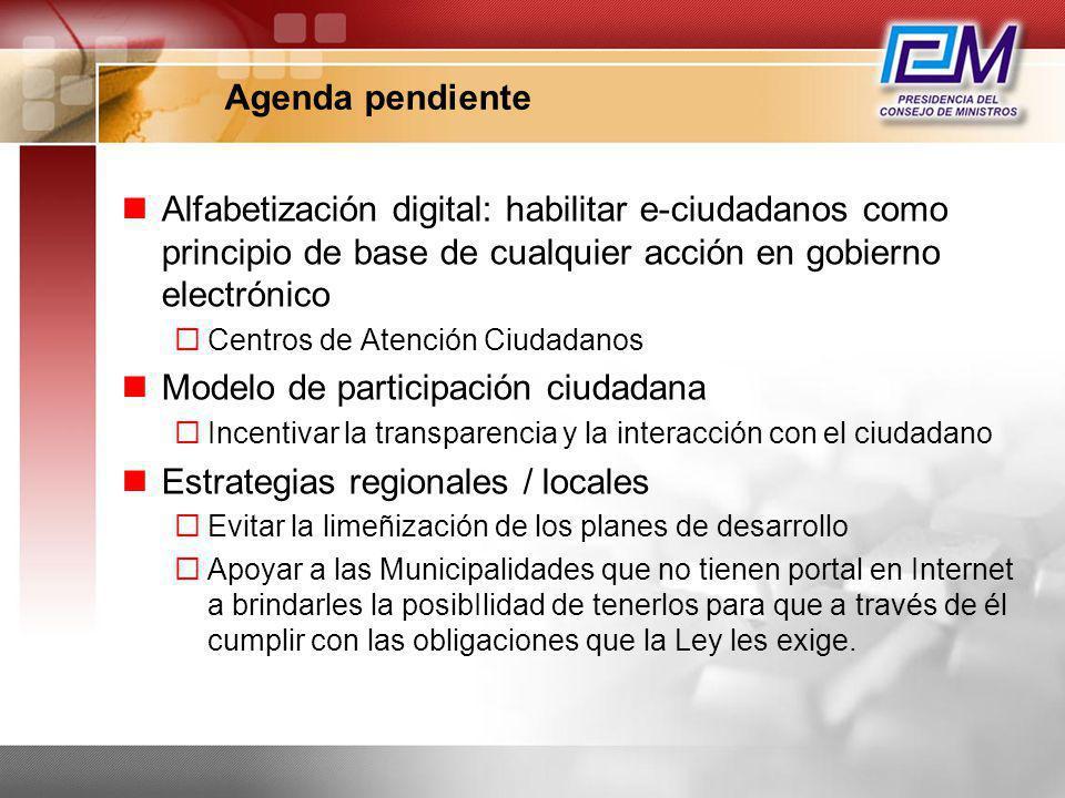 Agenda pendiente Alfabetización digital: habilitar e-ciudadanos como principio de base de cualquier acción en gobierno electrónico Centros de Atención
