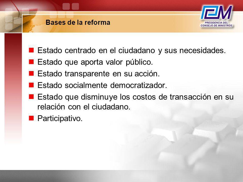 Bases de la reforma Estado centrado en el ciudadano y sus necesidades. Estado que aporta valor público. Estado transparente en su acción. Estado socia
