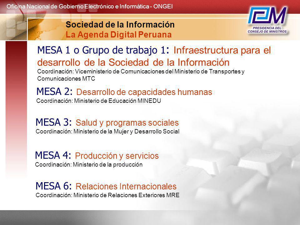 MESA 1 o Grupo de trabajo 1 : Infraestructura para el desarrollo de la Sociedad de la Información Coordinación: Viceministerio de Comunicaciones del M