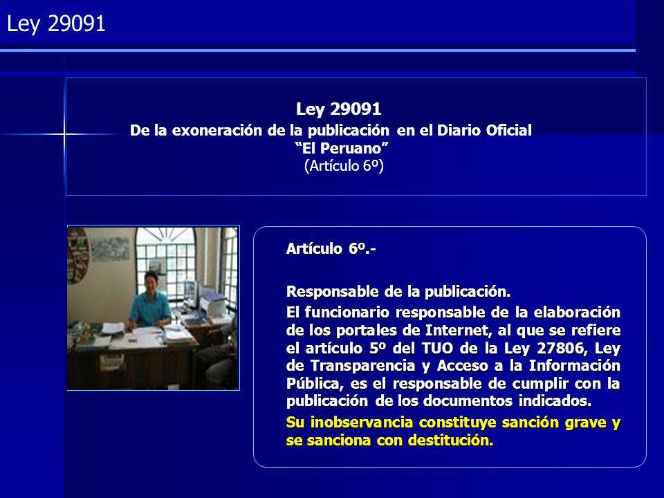 Project Management Ley 29091 De la exoneración de la publicación en el Diario Oficial El Peruano (Artículo 6º) Ley 29091 Artículo 6º.- Responsable de la publicación.