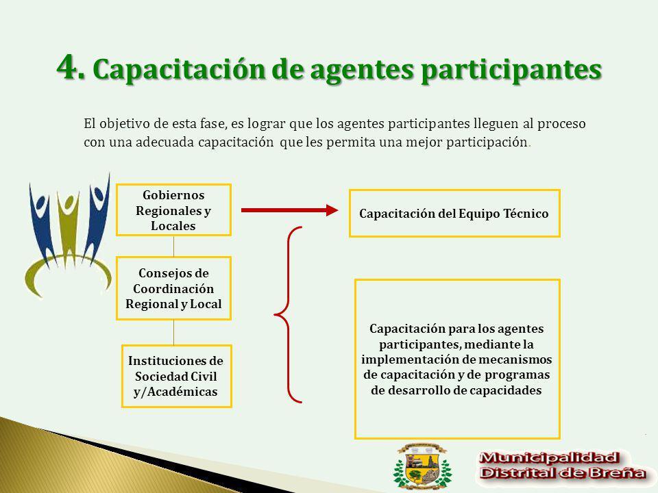 El objetivo de esta fase, es lograr que los agentes participantes lleguen al proceso con una adecuada capacitación que les permita una mejor participación.
