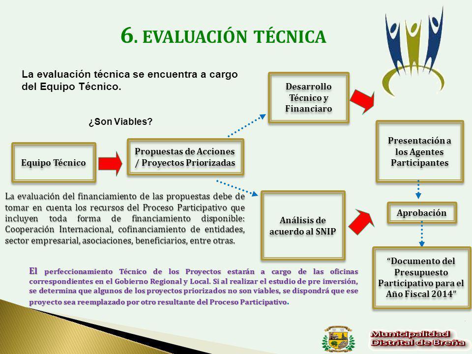 6. EVALUACIÓN TÉCNICA Análisis de acuerdo al SNIP Propuestas de Acciones / Proyectos Priorizadas Desarrollo Técnico y Financiaro Presentación a los Ag