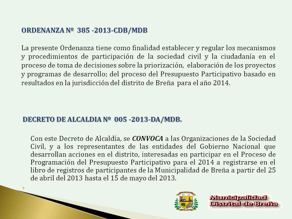 DECRETO DE ALCALDIA Nº 005 -2013-DA/MDB.